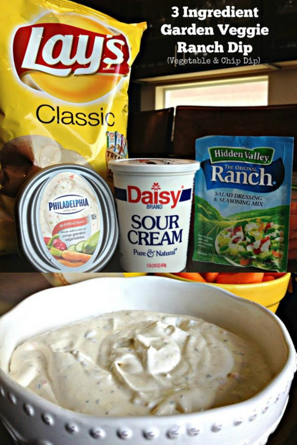 3 INGREDIENT GARDEN VEGGIE DIP (EASY) - Sweet Little Bluebird