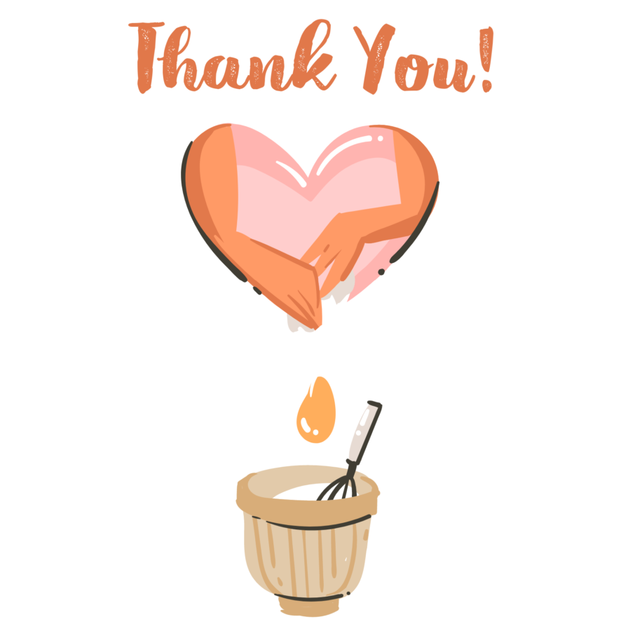 Thank You written with bog heart dripping over a mixing bowl with a spoon,