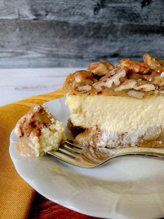 Apple Bottom Bourbon Pecan Cheesecake by Not Entirely Average - WEEKEND POTLUCK 495