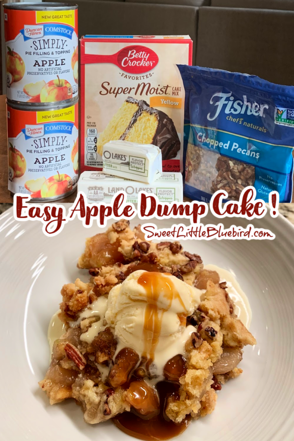 Easy Apple Dump Cake Recipe Ingredients and Cake plated with a scoop of vanilla ice cream with caramel drizzled on top.