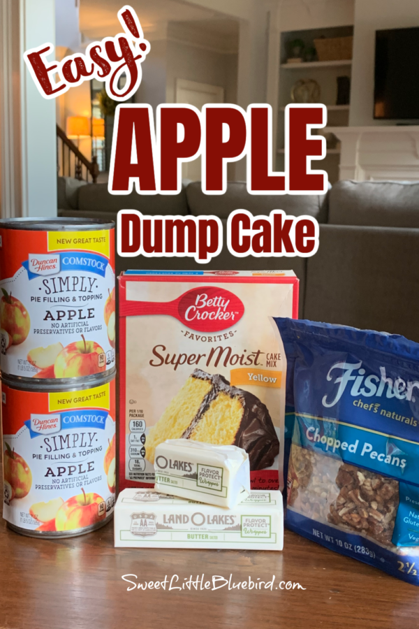 Easy Apple Dump Cake Ingredients - Apple Pie Filling, Box of Yellow Cake Mix, butter and chopped pecans.