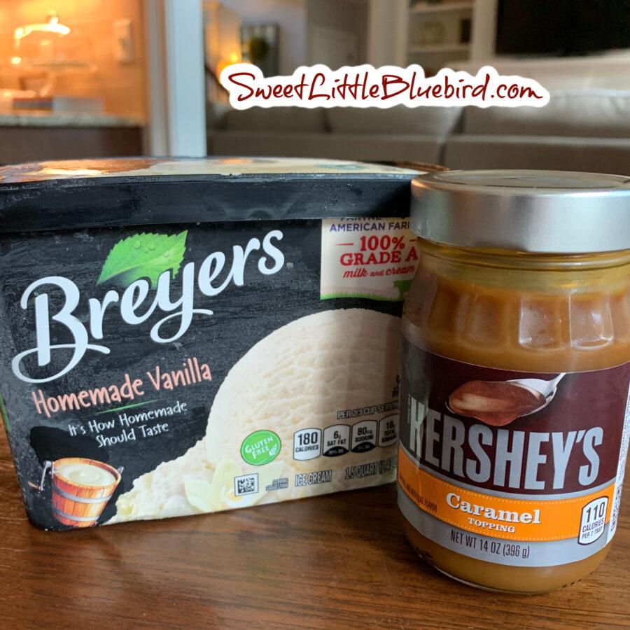 Apple Dump Cake Toppings - Vanilla Ice cream and Caramel Sauce