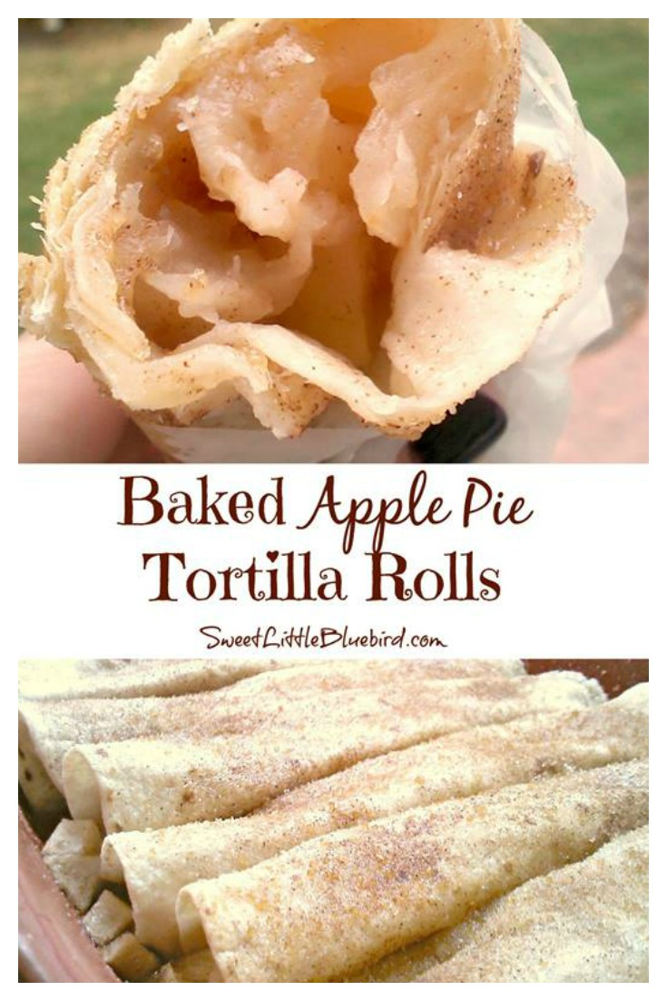 BAKED APPLE PIE TORTILLA ROLLS - aka, APPLE PIE ROLL UPS from Sweet Little Bluebird
