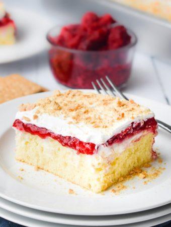 Berry Cheesecake Poke Cake - Weekend Potluck 415