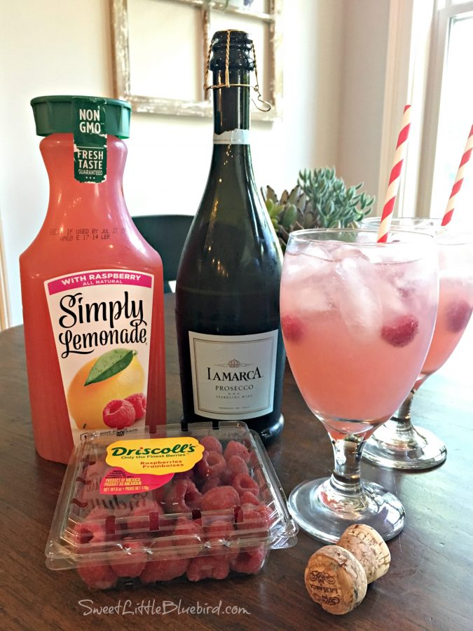 Easy Raspberry Lemonade Cocktail (Spritzer)- Sweet Little Bluebird