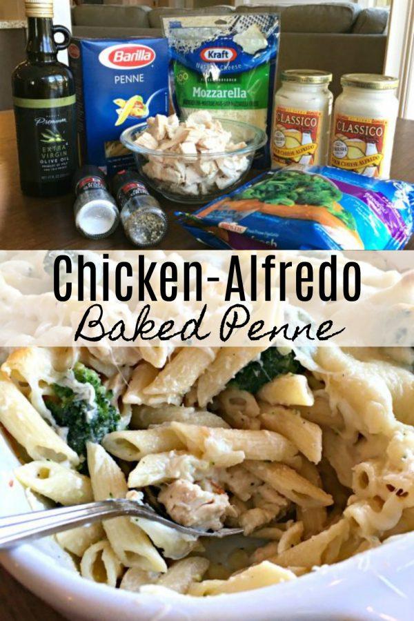 CHICKEN-ALFREDO BAKED PENNE - Sweet Little Bluebird