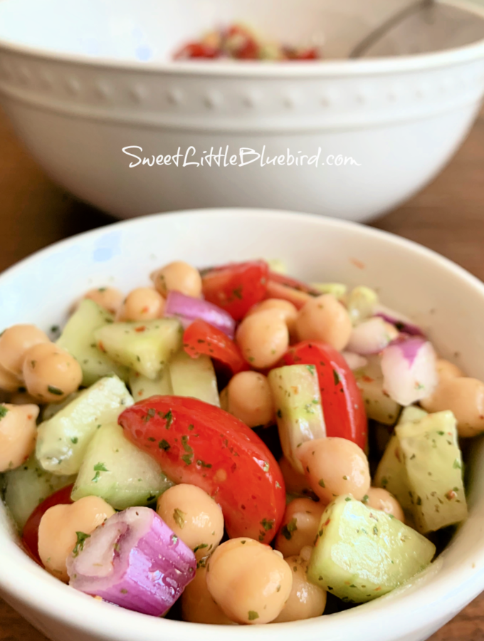 Chickpea Salad with Tomato Cucumber, Red Onion