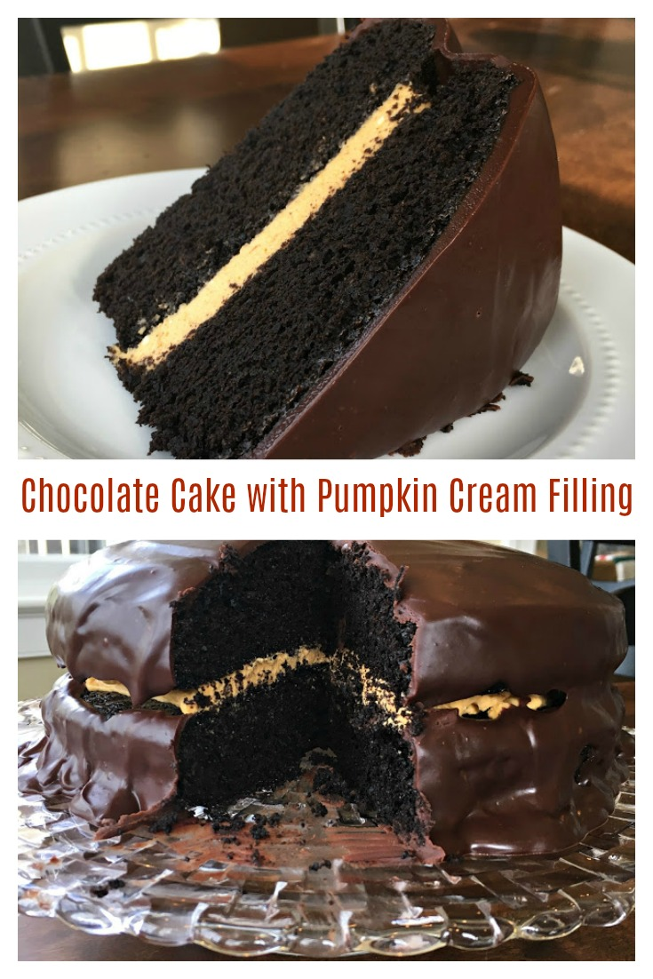 Chocolate Cake with Pumpkin Cream Filling from Sweet Little Bluebird