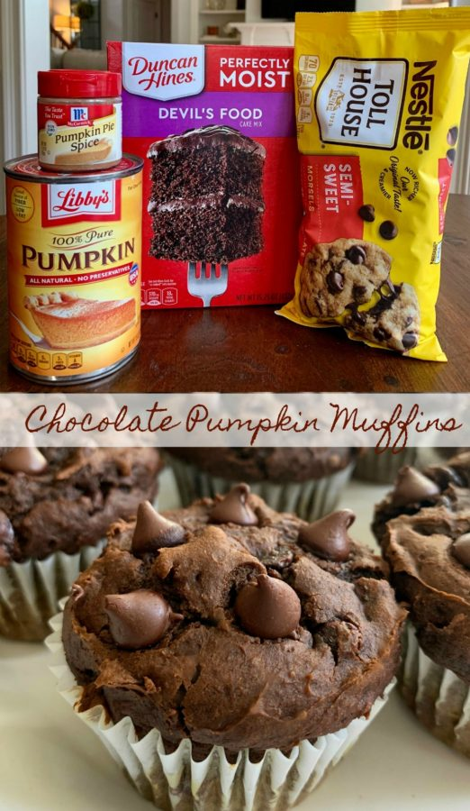 CHOCOLATE PUMPKIN MUFFINS (SUPER EASY)