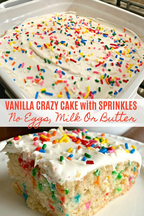 VANILLA CRAZY CAKE with SPRINKLES (NO EGGS, MILK or BUTTER) - Sweet Little Bluebird