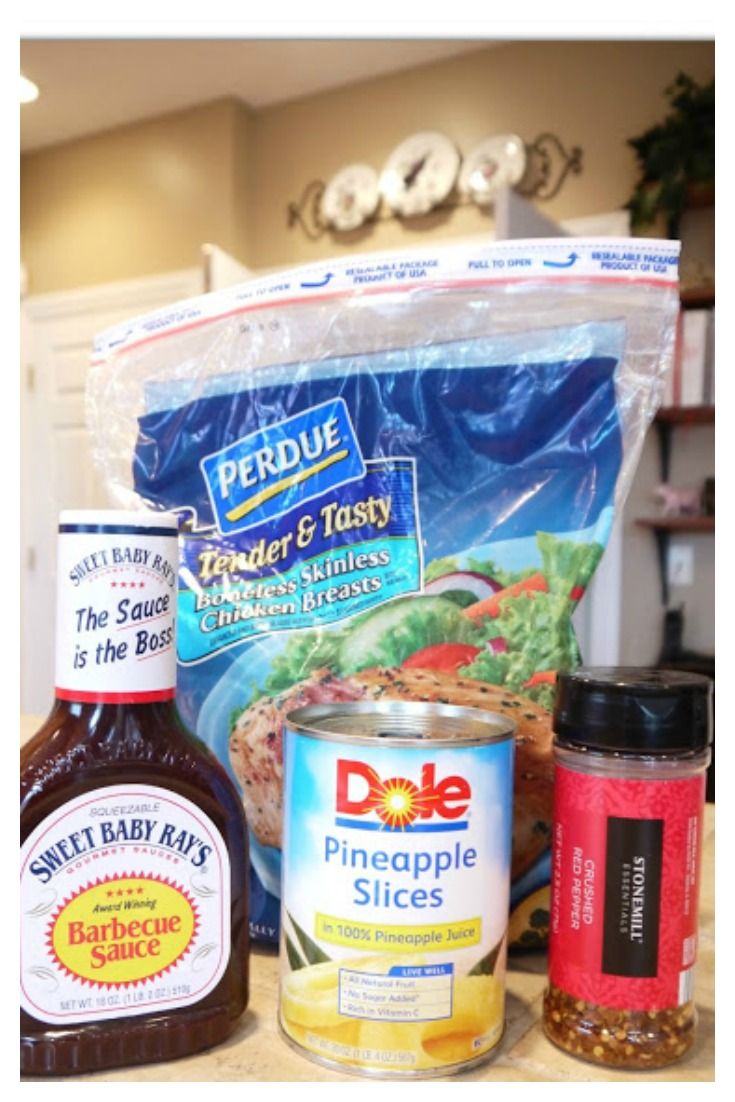 Crock Pot Barbecue Pineapple Chicken (Hawaiian Chicken) from Sweet Little Bluebird