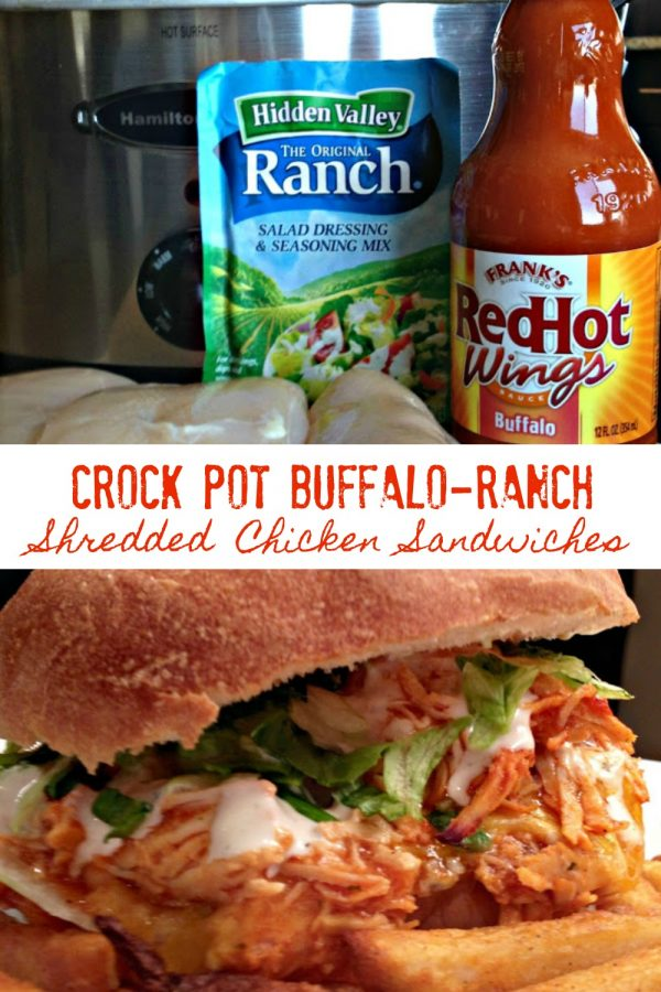 CROCK POT BUFFALO-RANCH SHREDDED CHICKEN SANDWICHES - Sweet Little Bluebird
