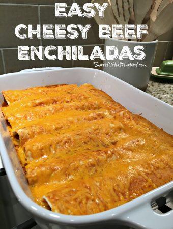 EASY CHEESY BEEF ENCHILADAS ( 4 INGREDIENTS) - Sweet Little Bluebird