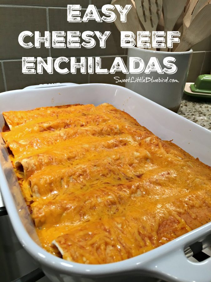 EASY CHEESY BEEF ENCHILADAS ( 4 INGREDIENTS) - Sweet Little Bluebird