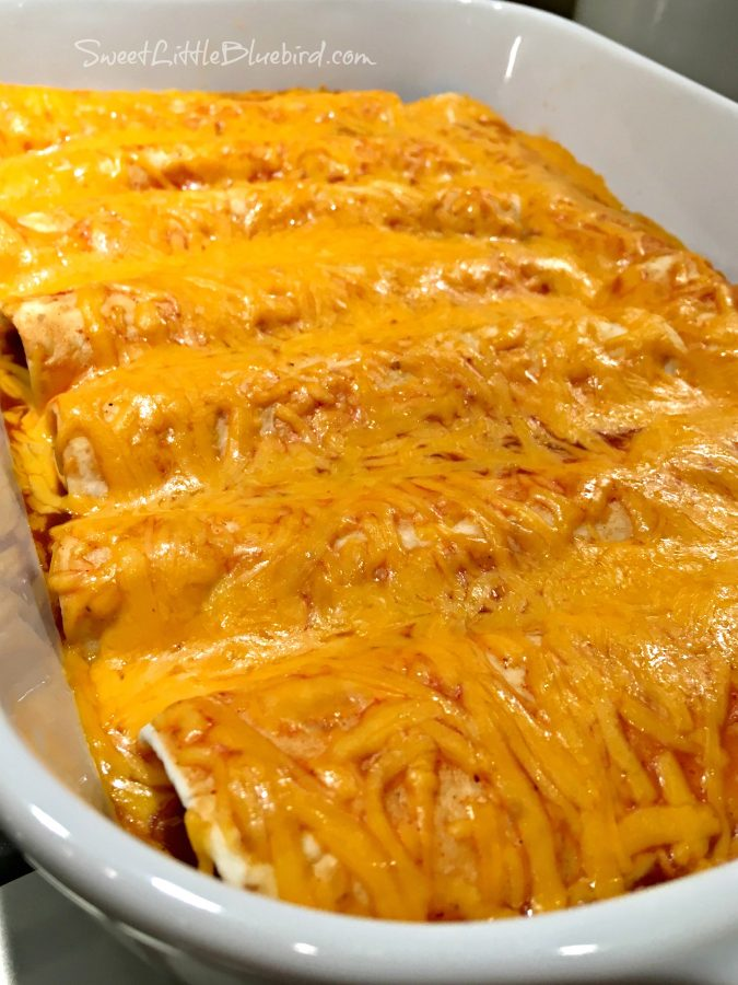EASY CHEESY BEEF ENCHILADAS - Sweet Little Bliuebird
