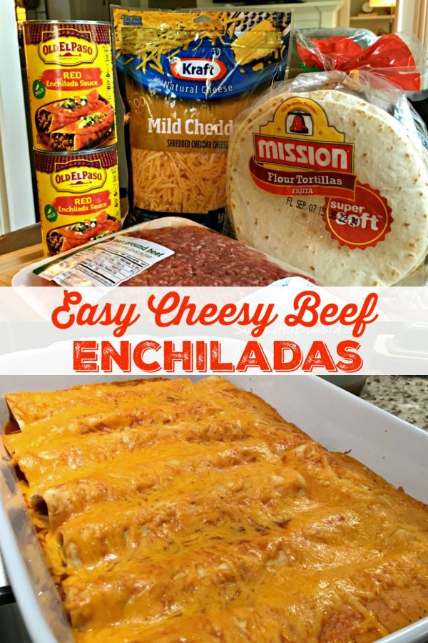EASY CHEESY BEEF ENCHILADAS (4 INGREDIENTS) - Sweet Little Bluebird