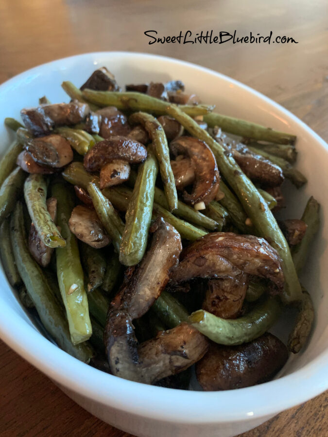Easy Oven Roasted Green Beans and Mushroom with garlic and balsamic in white serving dish