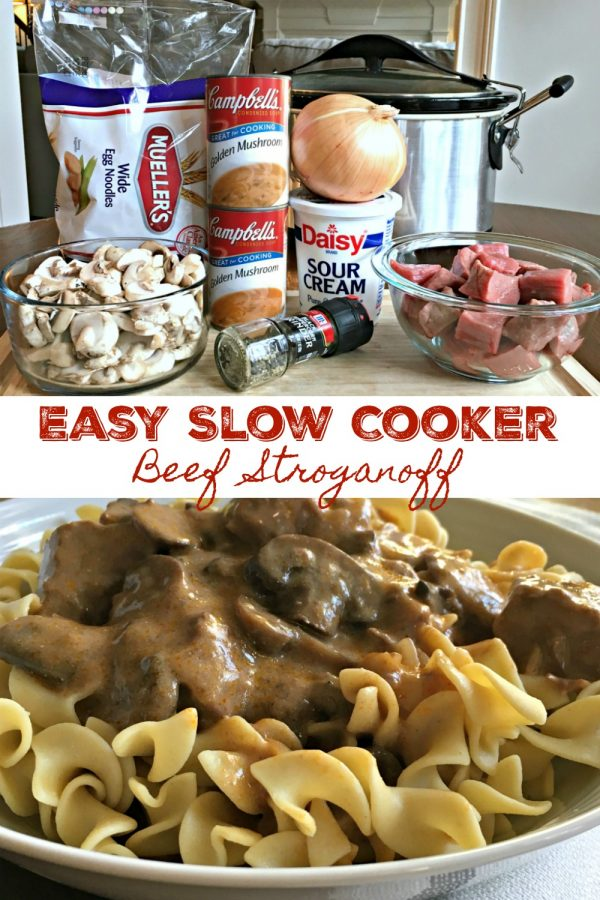 EASY SLOW COOKER BEEF STROGANOFF (EASY) - Sweet Little Bluebird