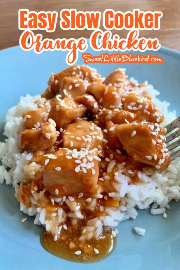 Easy Slow Cooker Orange Chicken Topped with Sesame Seeds (Sesame Seeds are optional)
