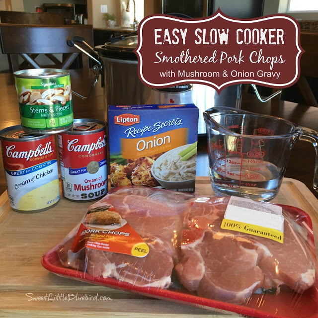 Easy Slow Cooker Smothered Pork Chops With Mushroom And Onion Gravy