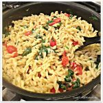 Pasta with Spinach, Tomatoes, Asiago and Parmesan Cheese