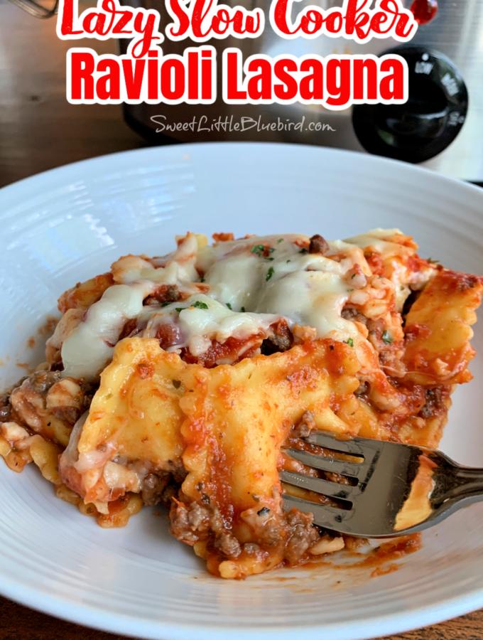 Lazy Slow Cooker Ravioli Lasagna