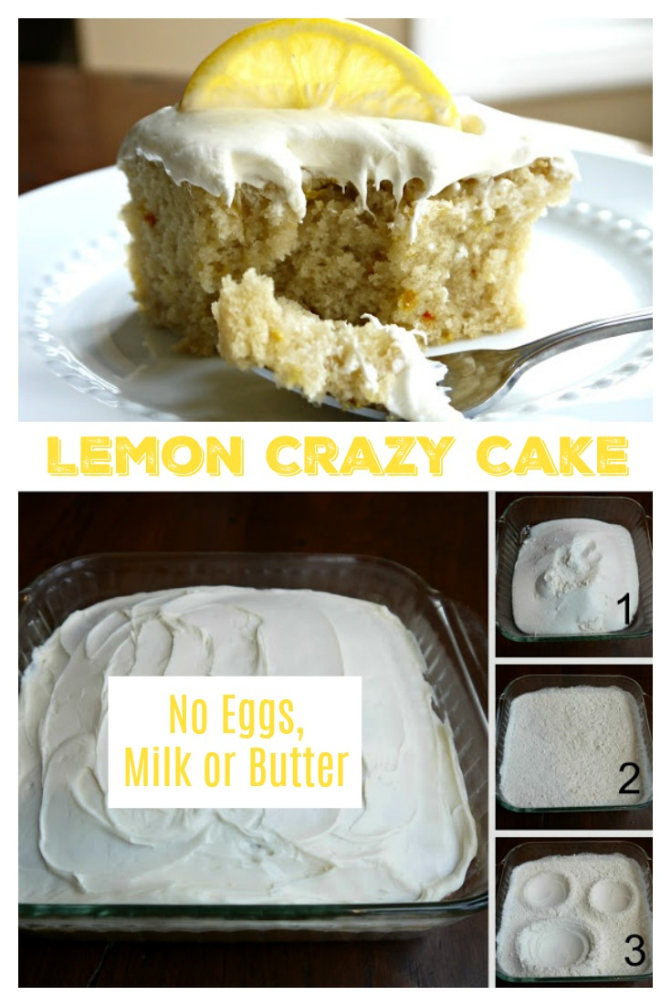 LEMON CRAZY CAKE - NO EGGS, MILK or BUTTER from Sweet Little Bluebird