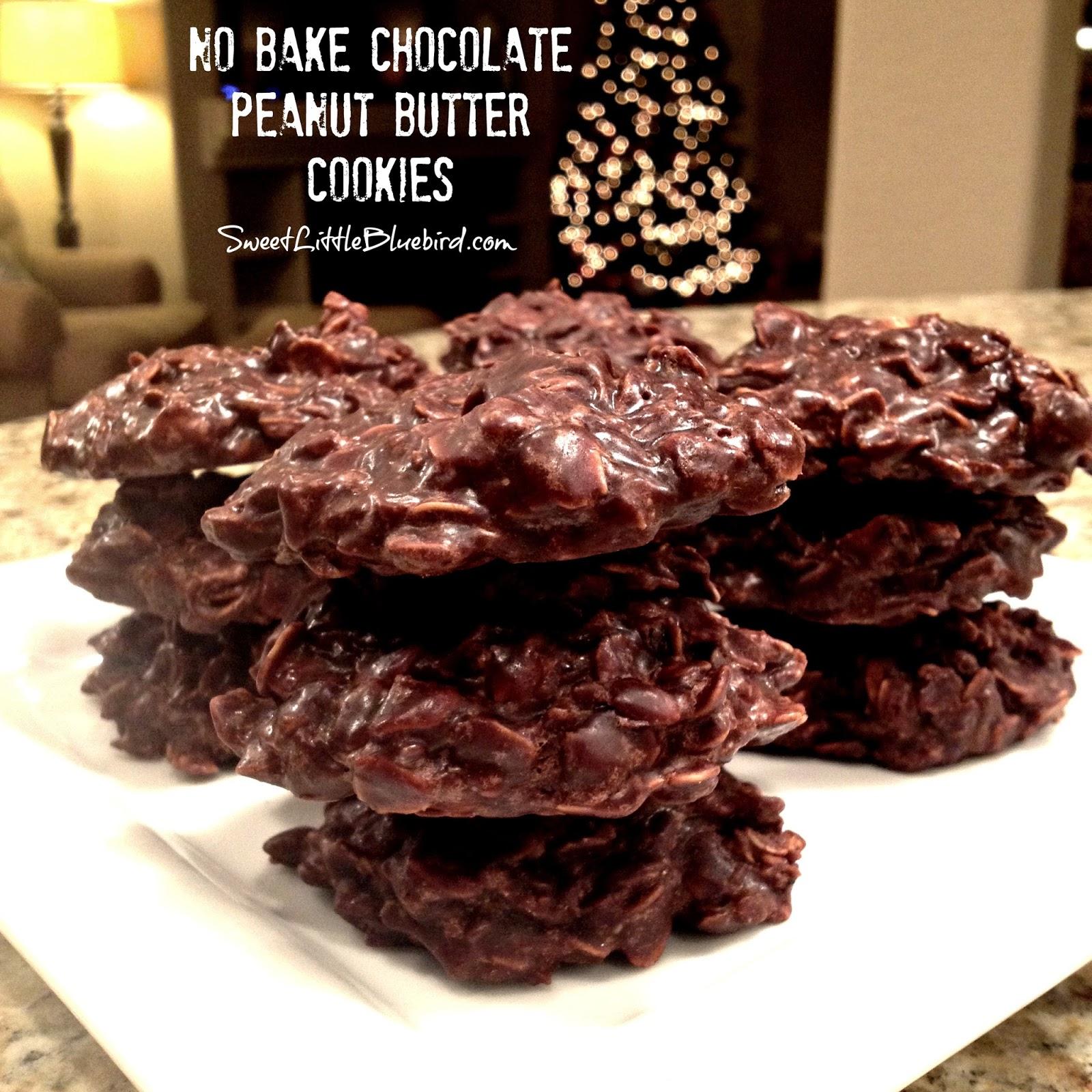 No Bake Chocolate Peanut Butter Cookies Sweet Little Bluebird