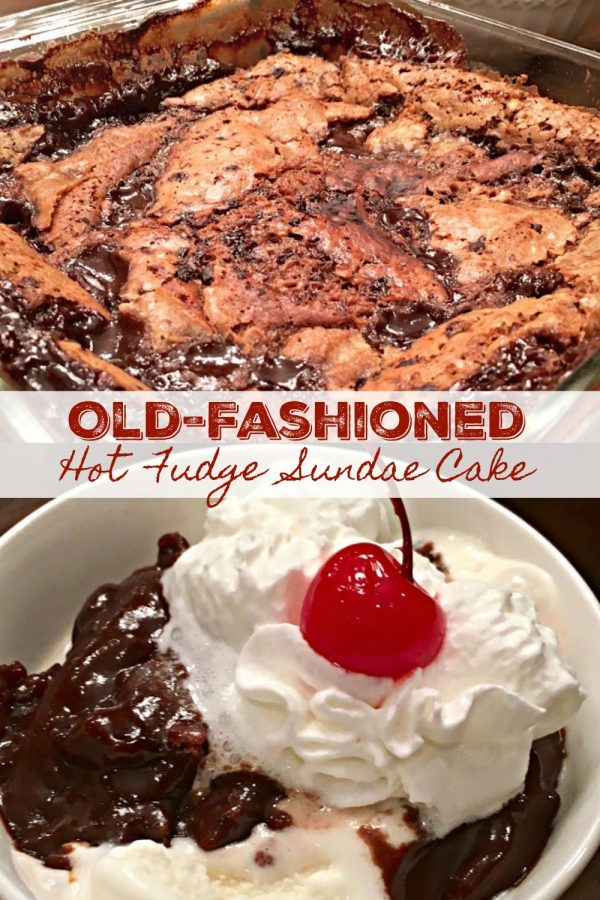 OLD-FASHIONED HOT FUDGE SUNDAE CAKE - Sweet Little Bluebird