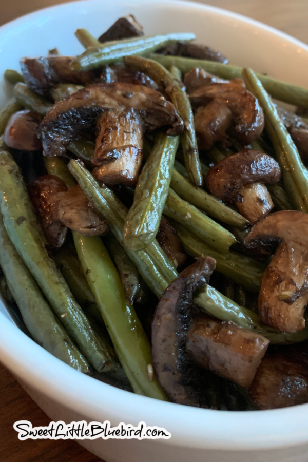 Easy Oven Roasted Green Beans with garlic and balsamic in a white serving dish