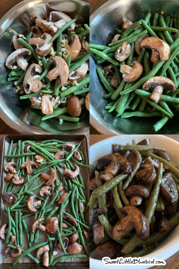 Oven Roasted Green Beans and Mushrooms, Balsamic, Garlic, olive oil, sea salt and pepper in a large silver mixing bowl,, tossed then placed on baking pan evenly then served in a white serving bowl after baking.