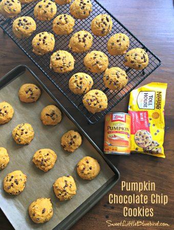 PUMPKIN CHOCOLATE CHIP COOKIES (Soft Batch) - Sweet Little Bluebird