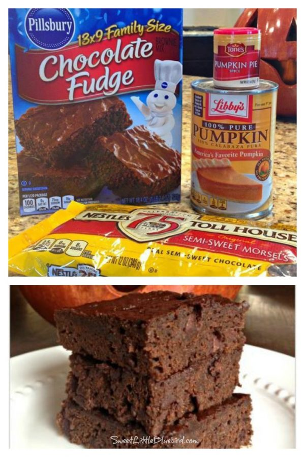 Pumpkin and Spice Double Chocolate Brownies from Sweet Little Bluebird