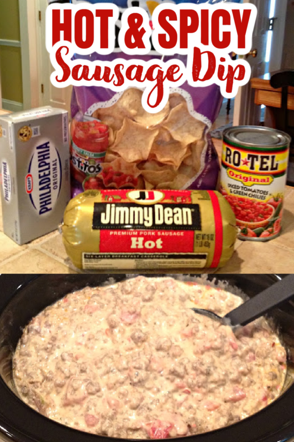 EASY HOT AND SPICY SAUSAGE DIP - Only 3 Ingredients - Cream Cheese, Hot Sausage and Rotel