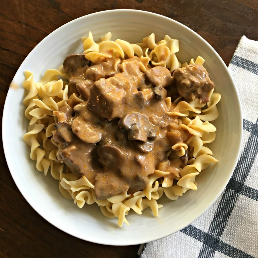 SLOW COOKER BEEF STROGANOFF (EASY) - Sweet Little Bluebird