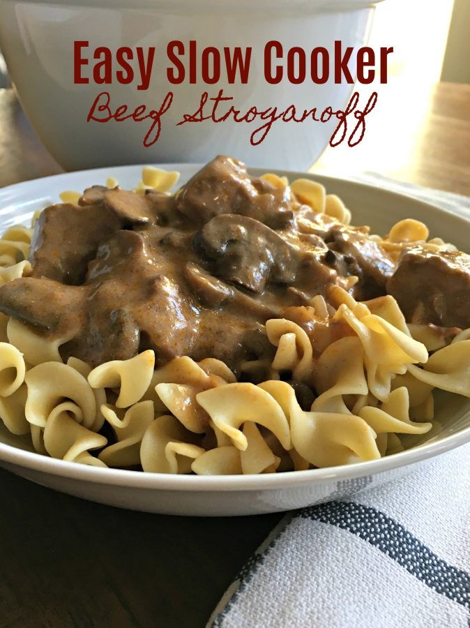 EASY SLOW COOKER BEEF STROGANOFF - Sweet Little Bluebird