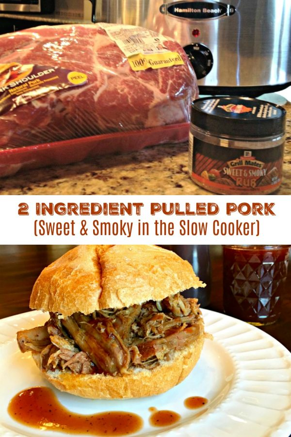 SLOW COOKER PULLED PORK (2 INGREDIENTS) Sweet & Smoky in the Slow Cooker