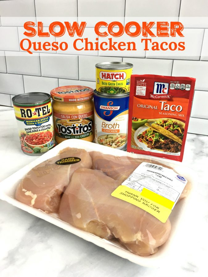 EASY SLOW COOKER QUESO CHICKEN TACOS - Sweet Little Bluebird
