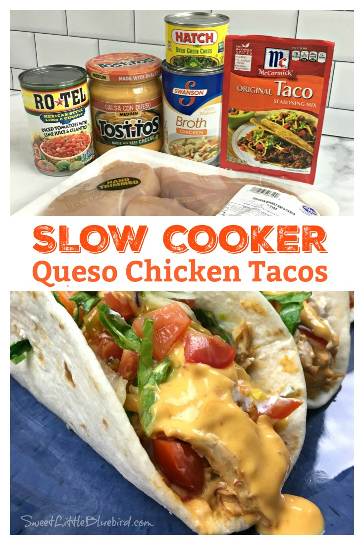 SLOW COOKER QUESO CHICKEN TACOS - Sweet Little Bluebird