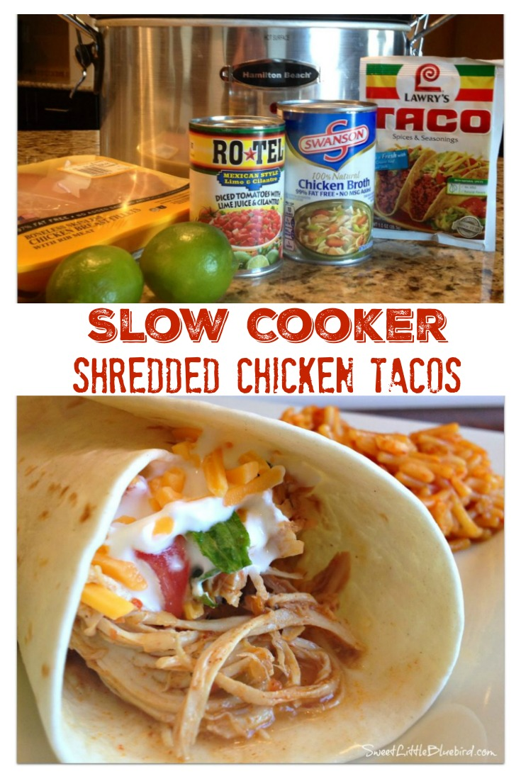 Slow Cooker Shredded Chicken Tacos from Sweet Little Bluebird