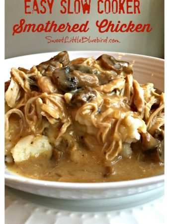EASY SLOW COOKER SMOTHERED CHICKEN from Sweet Little Bluebird