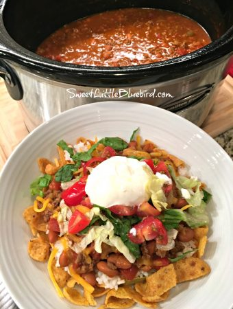 SLOW COOKER SMOTHERED FRITOS TACO BOWLS - Sweet Little Bluebird