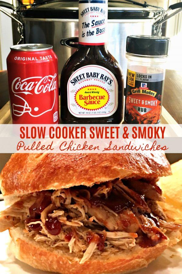 SLOW COOKER SWEET & SMOKY PULLED CHICKEN SANDWICHES - Sweet Little Bluebird