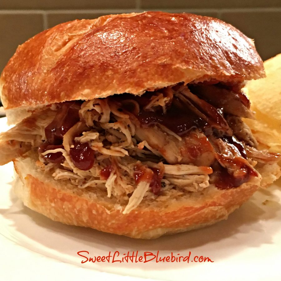 SLOW COOKER SWEET & SMOKY PULLED CHICKEN SANDWICHES - Sweet Little Bluebird