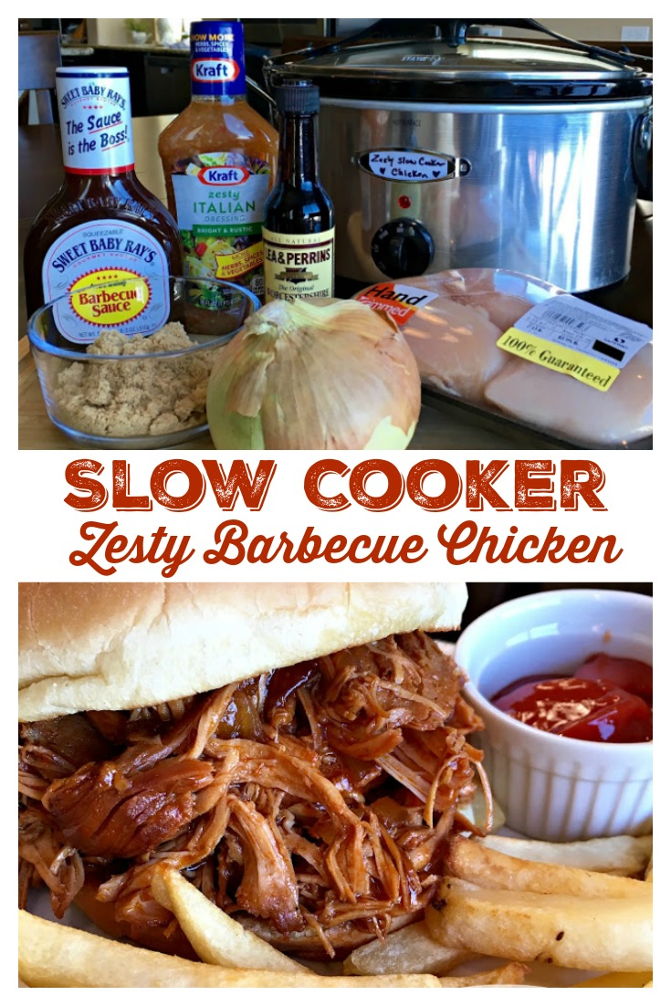SLOW COOKER ZESTY BARBECUE CHICKEN - Sweet Little Bluebird