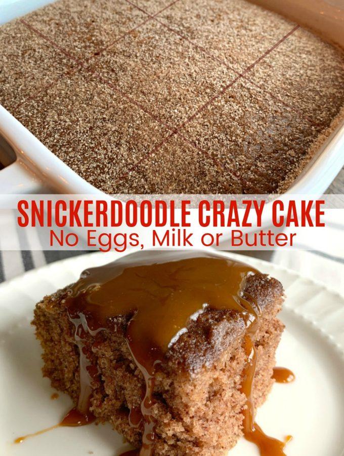 SNICKERDOODLE CRAZY CAKE (No Eggs, Milk or Butter) - Sweet Little Bluebird
