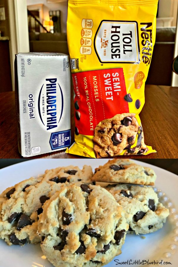 Soft Batch Cream Cheese Chocolate Chip Cookies by Sweet Little Bluebird - Weekend Potluck 444