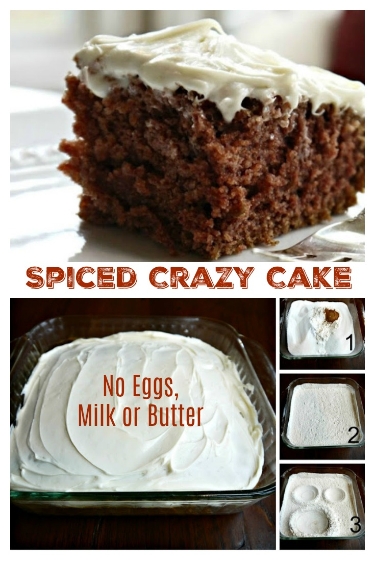 SPICED CRAZY CAKE - No Eggs Milk Butter Or Bowls