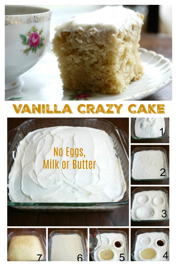 VANILLA CRAZY CAKE - No Eggs, Milk Or Butter