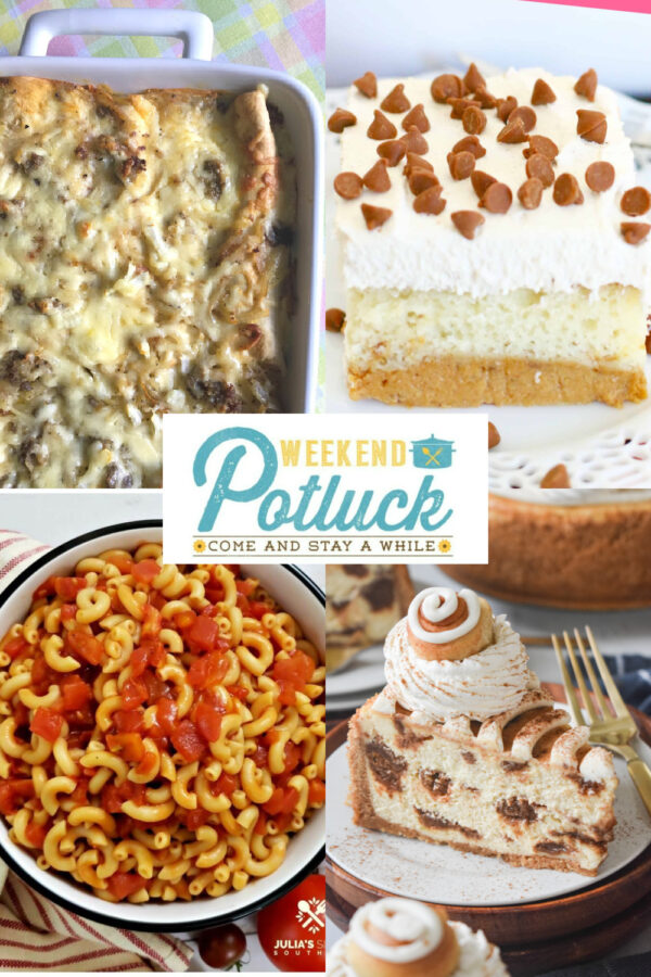 This weeks features collage, photos of Sausage Gravy Breakfast Enchiladas, Cinnamon Roll Cheesecake, Macaroni and Tomatoes and Magic Pumpkin Layer Cake.